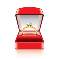 Wedding ring in gift box vector illustration