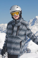 Teenage boy skier