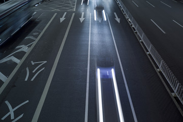 the light trails on the steet in China.