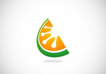 slice fruit juice vector logo