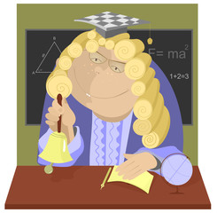 Teacher in a wig rings the bell