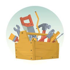 Set of different tools. Vector illustration.