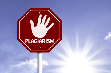 Stop Plagiarism red sign with sun background