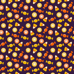 Halloween background with sweets. Seamless vector pattern.