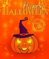 Happy Halloween! Greeting card. Vector illustration.