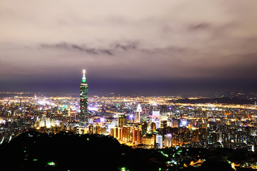 City skyline in night with famous 101 Tower, Taipei