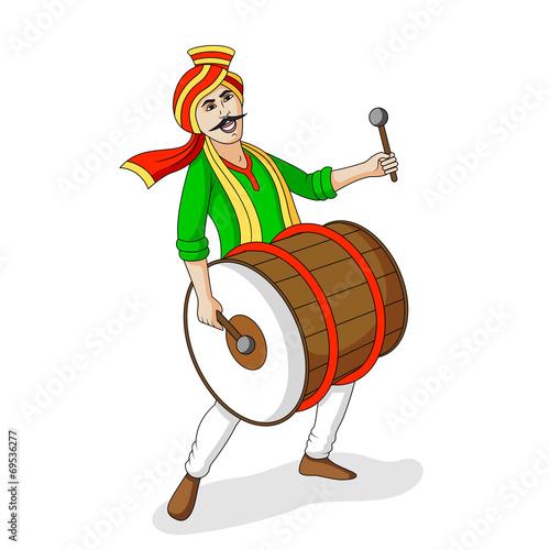 People playing dhol tasha in Indian festiva - 69536277