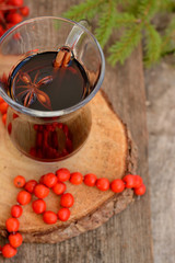autumn in a glass of mulled wine