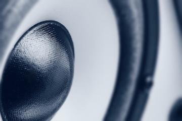 Music speaker. Monochrome close-up photo