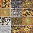 Animal skin fur vector pack leopard zebra - 69537026
