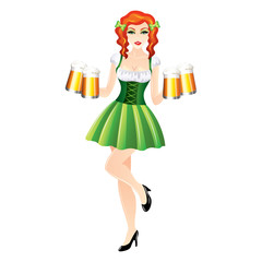 Sexy woman with beer, St. Patrick's Day vector