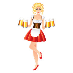 Sexy woman with beer, Oktoberfest vector