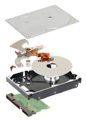 isometry. disassembled hard disk on a white background