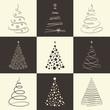 Zdjęcia na płótnie, fototapety, obrazy : Set of stylized Chrisrmas trees for winter holidays design