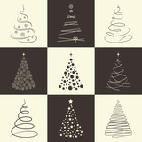 Set of stylized Chrisrmas trees for winter holidays design