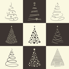 Set of stylized Chrisrmas trees for winter holidays design