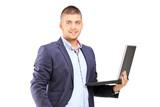 Man holding a laptop