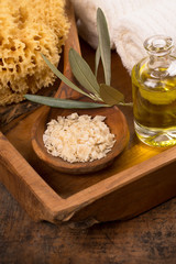 natural spa concept with olive oil and salt
