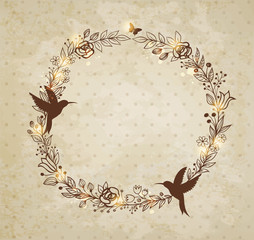 Vintage hand drawn wreath of flowers