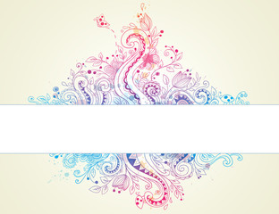 Abstract  hand drawn floral background