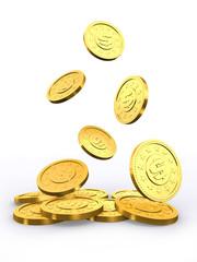 Falling golden coins.