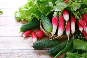 fresh vegetables on boards