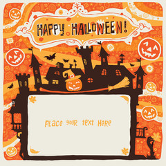 Halloween postcard, poster, background or party invitation