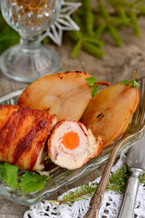 Chicken with grilled bacon