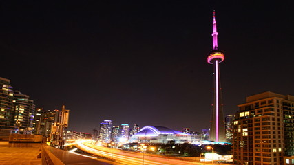 A timelapse view of Toronto at night