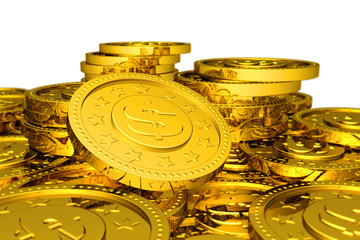 Many golden coins background.