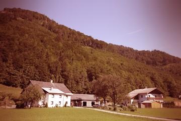 Austria rural landscape. Cross processed color tone.