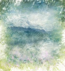 Watercolor Abstract Image Of  Mountains