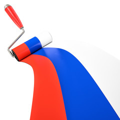 Russian Flag Painted by Roller Brush, Wining Concept of Flag