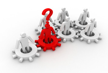 Leader is managing his work team. Network concept