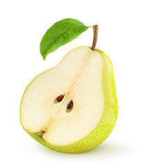 Half of pear on white background
