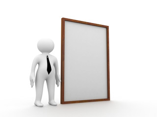 3d man standing and presenting blank board