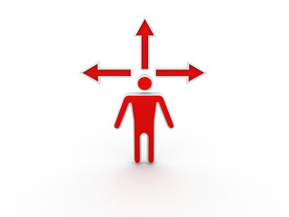 3d man standing in front of three arrows
