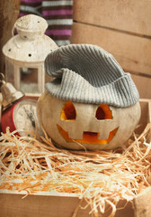 Halloween pumpkin with vintage texture
