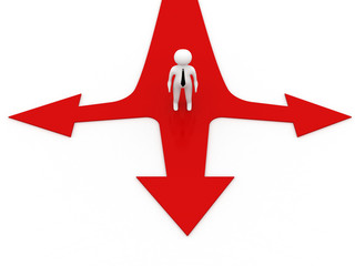 3d man thinking and confusing with three red arrows