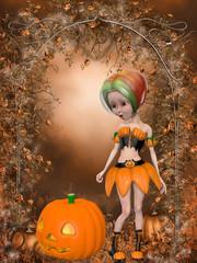 Beautiful toon pumpkin girl