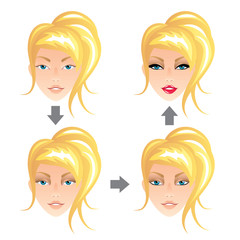 Blonde woman make up vector