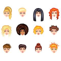 Woman hair style vector set