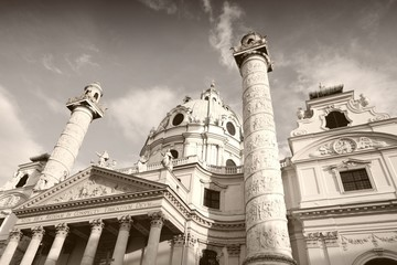 Karlskirche, Vienna in Austria. Sepia monochrome photo.