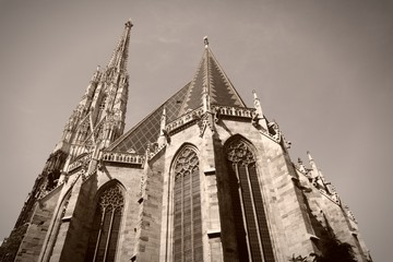 Stephansdom, Vienna in Austria. Sepia monochrome photo.