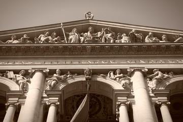 Vienna University in Austria. Sepia monochrome photo.