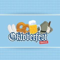 Oktoberfest O'zapft is! - Karte Card Brezel Bier Logo