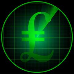 Radar screen with pond symbol