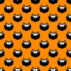 halloween pattern with black owls and orange background