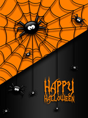 halloween greetings card with  black spiders