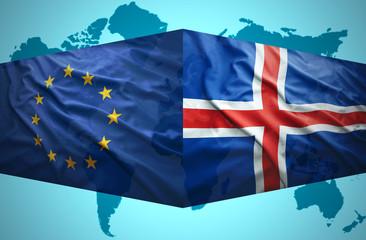 Waving Icelandic and European Union flags
